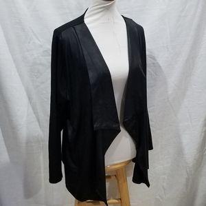 Style & Co Black Faux Liquid Leather Cardigan